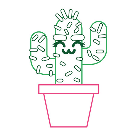 cartoon potted cactus kawaii character vector illustration green and red line