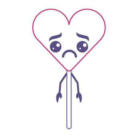 cartoon round lollipop swirl kawaii character vector illustration red and purple line