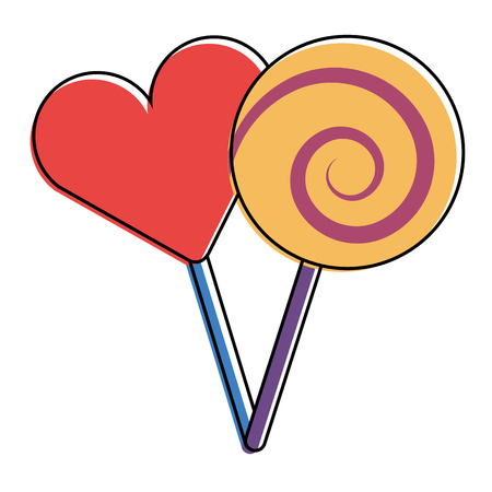 two round lollipop and heart shape candy vector illustration Illustration