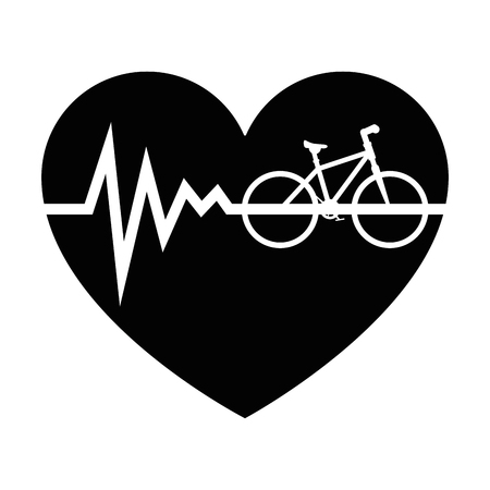 heart cardio with bicycle vector illustration design Vectores