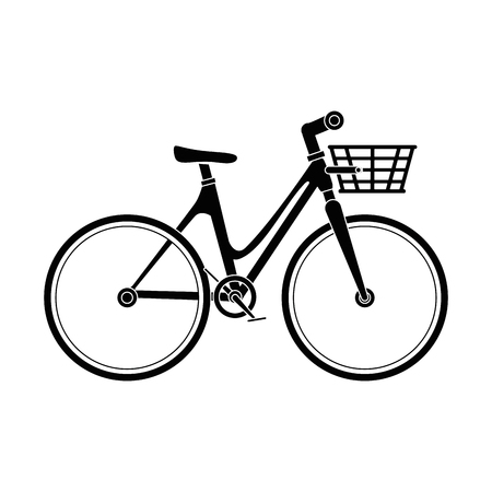 bicycle vehicle with basket vector illustration design Иллюстрация