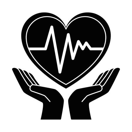 Handen met hart cardio geïsoleerd pictogram vector illustratie ontwerp Stockfoto - 93557653