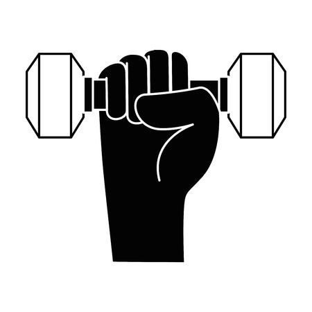 hand with weight lifting gym device vector illustration design