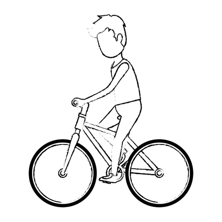 man riding bicycle avatar character vector illustration design