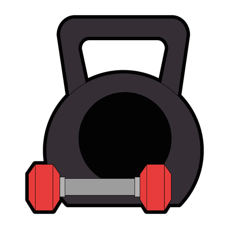 weight lifting gym devices vector illustration design