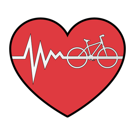 heart cardio with bicycle vector illustration design Illustration