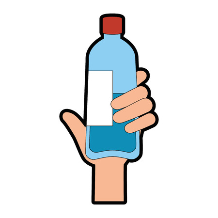 hand with bottle water plastic vector illustration design Çizim