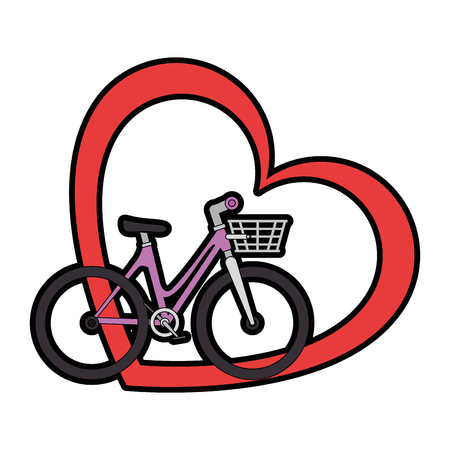 fiets met liefde hart vector illustratie ontwerp