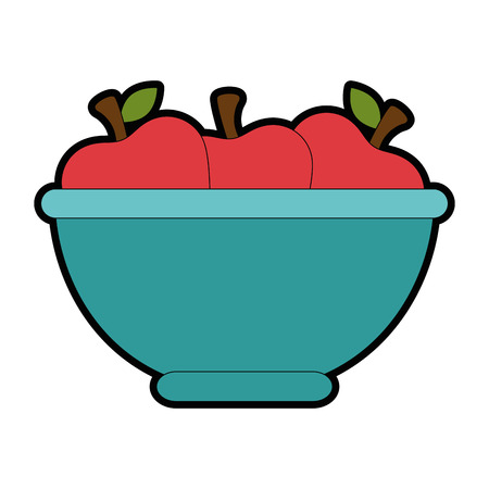 bowl with apples fruits vector illustration design Stok Fotoğraf - 93564615