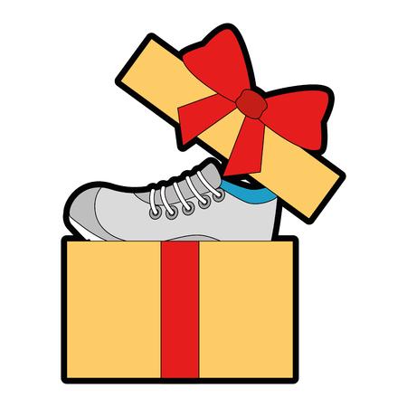 geschenkdoos met sport schoen tennis vector illustratie ontwerp