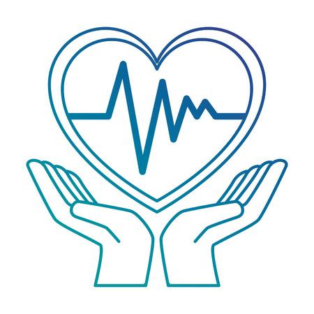 Mains avec coeur cardio isolé icône du design illustration vectorielle Banque d'images - 93566045