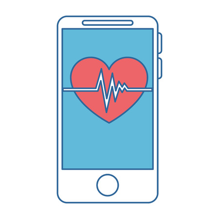 smartphone device with heart cardio vector illustration design Çizim