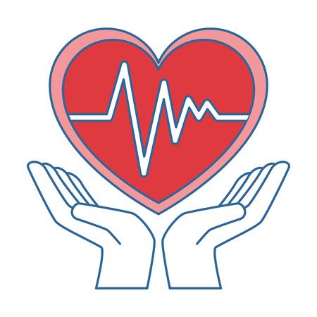 Mains avec coeur cardio isolé icône du design illustration vectorielle Banque d'images - 93568544