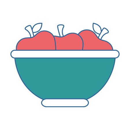 bowl with apples fruits vector illustration design