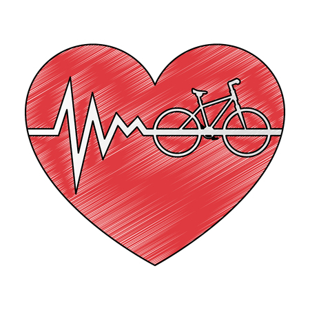 heart cardio with bicycle vector illustration design Çizim