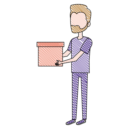 man with box avatar vector illustration design 向量圖像