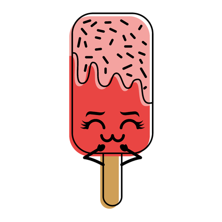 kawaii ice cream stick cartoon character vector illustration