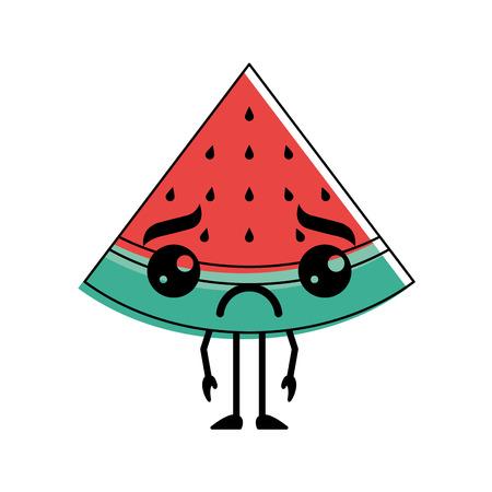 Kawaii Cartoon Wassermelone Obst lustige Charakter Vektor-Illustration Standard-Bild - 93615166