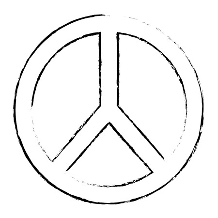 peace and love symbol emblem icon vector illustration sketch design Stock Vector - 93615170