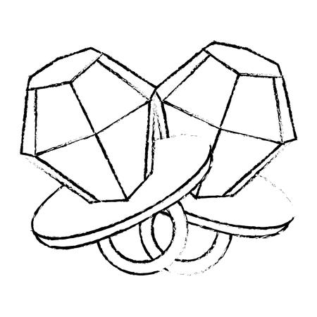 pair diamod rings cartoon jewelry fantasy vector illustration sketch design