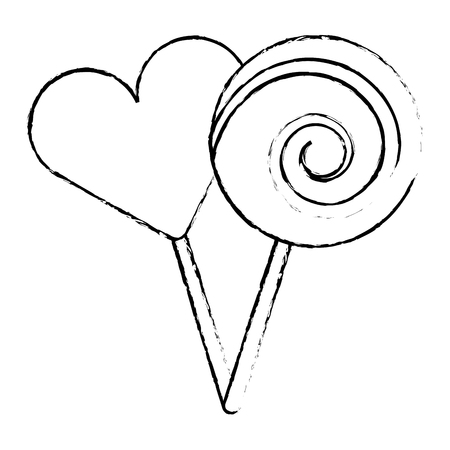 two round lollipop and heart shape candy vector illustration sketch design