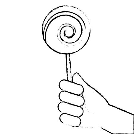 hand holding lollipop sweet candy vector illustration sketch design Illustration