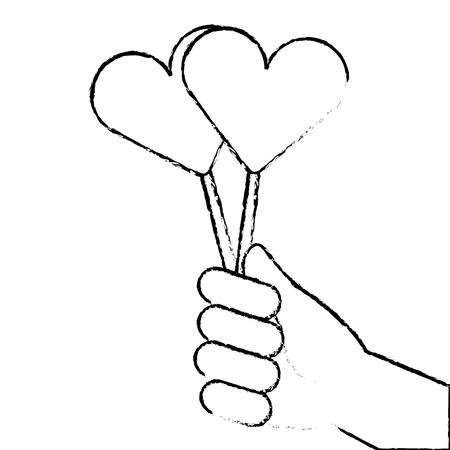hand holding lollipop sweet candy vector illustration sketch design Vettoriali