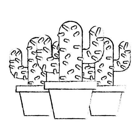3 화분 선인장 공장 자연 벡터 일러스트 스케치 디자인