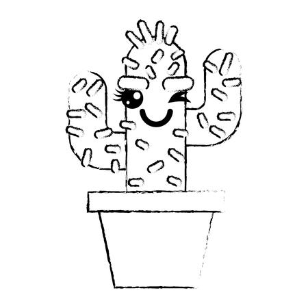 cartoon potted cactus kawaii character vector illustration sketch design Stok Fotoğraf - 93615186