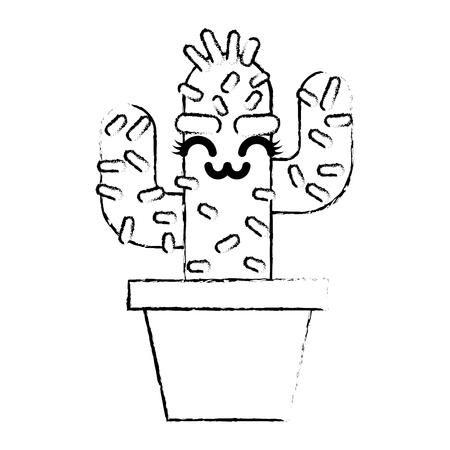 cartoon potted cactus kawaii character vector illustration sketch design