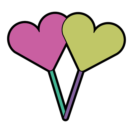Two hearts shape lollipop with stick sweet vector illustration