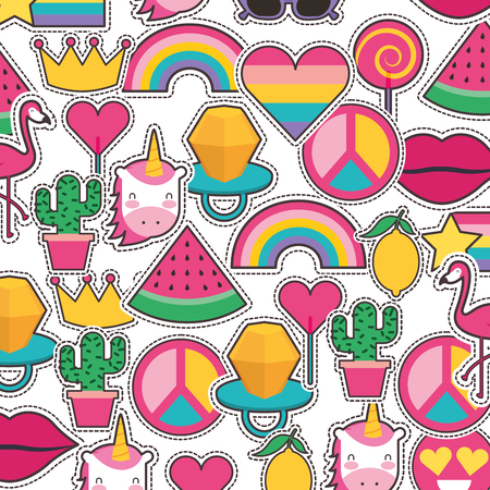 Seamless pattern with fashionable patches comic stickers pins vector illustration