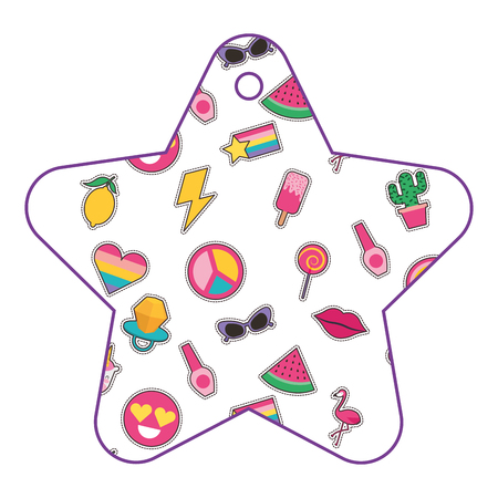 patches in star pattern fashion decoration vector illustration