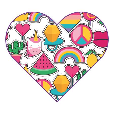 Pattern shape heart patches fashion decoration vector illustration Illustration