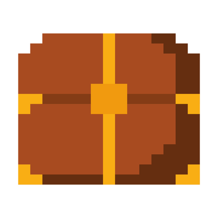 pixelated video game treasure chest fortune vector illustration Ilustração