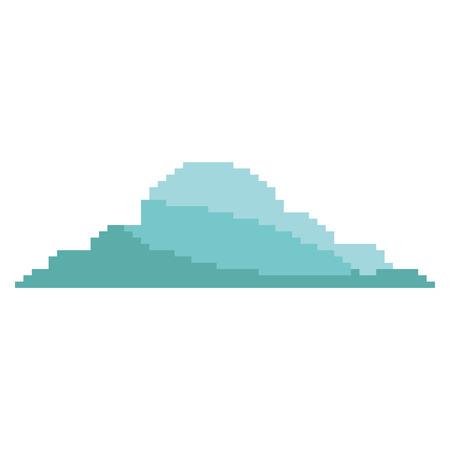 ピクセル化された雲天気空アイコンベクトルイラスト
