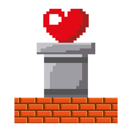 Heart love life video game vector illustration linear design
