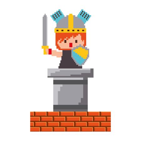 ピクセルキャラクター騎士ゲーム壁レンガベクトルイラスト