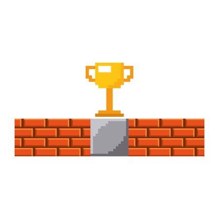 pixel trophy prize game brick wall vector illustration