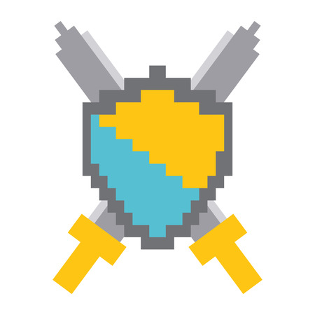 pixelated shield and swords video game vector illustration Illustration