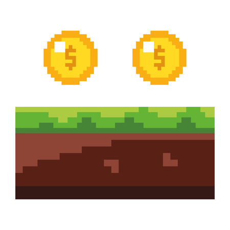 pixeled golden coin treasure score vector illustration Illustration