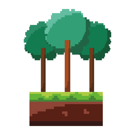 Set di pixel albero fogliame tronco natura illustrazione vettoriale Archivio Fotografico - 93608799