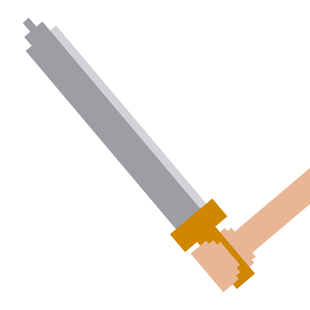 Pixelated hand holding sword weapon video game vector illustration.