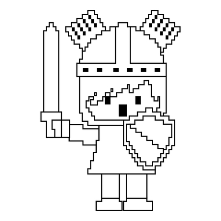 Pixel character knight with sword and shield for games vector illustration linear design.