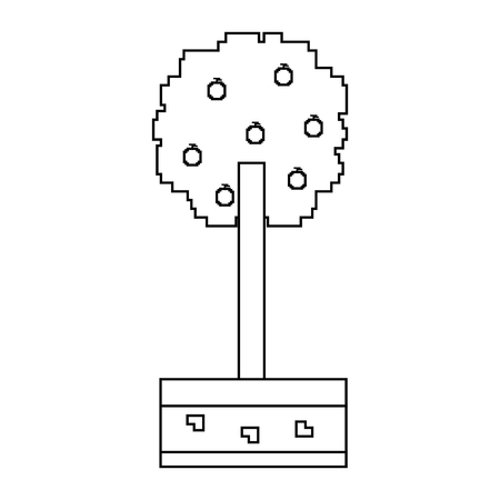 pixelated tree with fruits nature ecology vector illustration linear design 일러스트