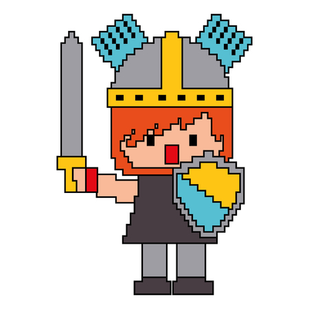 Pixel character knight with sword and shield for games vector illustration Illustration