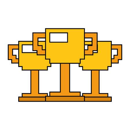 ピクセル化トロフィー賞ゲームベクトルイラストのセット  イラスト・ベクター素材