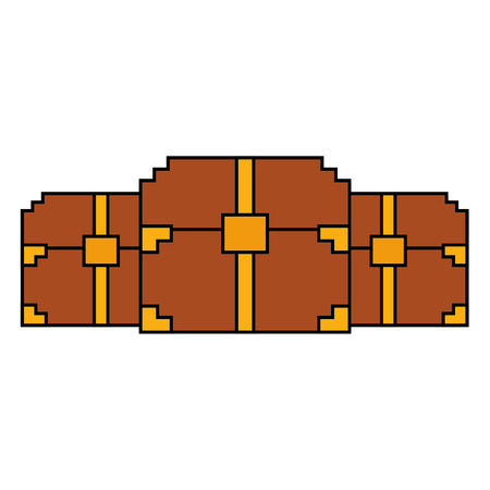 3つの木製ピクセル化された胸の宝庫ゲームベクトルイラスト