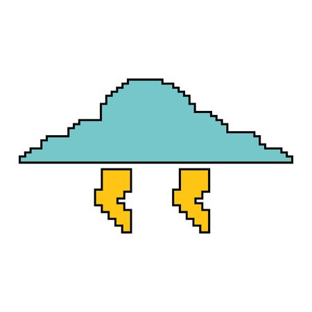 Pixelated cloud and thunderbolt weather storm vector illustration 向量圖像
