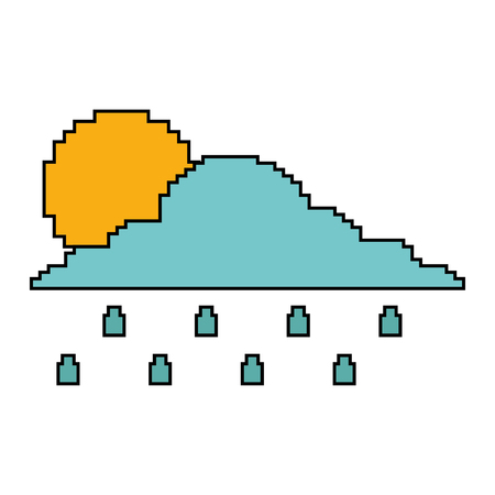 Pixelated cloud sun and rain drops climate vector illustration